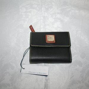 DOONEY AND BOURKE PEBBLE GRAN SMALL FLAP WALLET BL